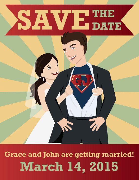 Custom portrait superhero wedding save the date magnets, custom cartoon wedding, geeky wedding, whimsical wedding invitations #superherowedding
