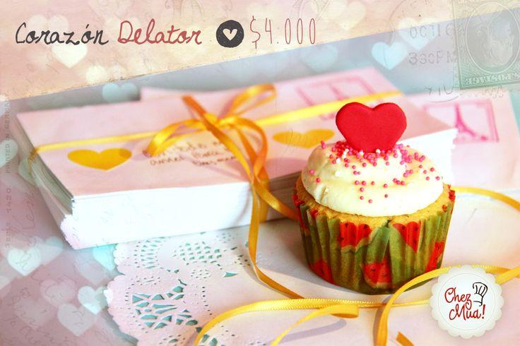 ¡Corazón Delator!   Que viva ese sonido delator de nuestro corazón que nos pone a vibrar de tal manera que el mundo entero se da cuenta que el amor ha tocado a nuestra puerta.  #amor #amistad #calico #cupcakes