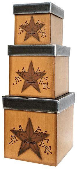 $19.95 Star & Berries Boxes, 3/set - Kruenpeeper Creek Country Gifts