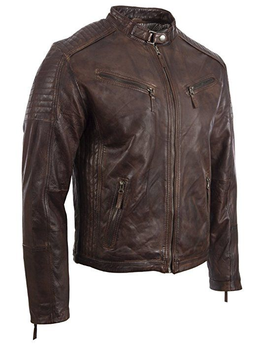 Mens Ultra-Stylish Super Soft REAL Leather Fitted BIKER Jacket with Side Detailing by MDK L: Amazon.co.uk: Clothing