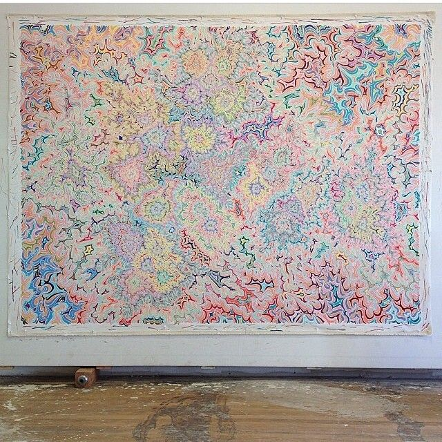 """""""This is a painting I made last year of the molecule 2C-B first synthesized by Alexander Shulgin in 1974. Shulgin died last night at 88. For anyone unfamiliar with his life take some time to do a little research, you will not be disappointed. @hamiltonmorris did a nice series of interviews with him for VICE a couple of years ago that make a nice jumping off point for the uninitiated. His was a life well lived and we are all better for his pioneering insights and sacrifices."""" ~ Kelsey Brookes"""