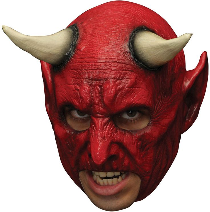 Red Demon Devil Latex Mask Open Mouth Prosthetic Teeth Adult Halloween Horror