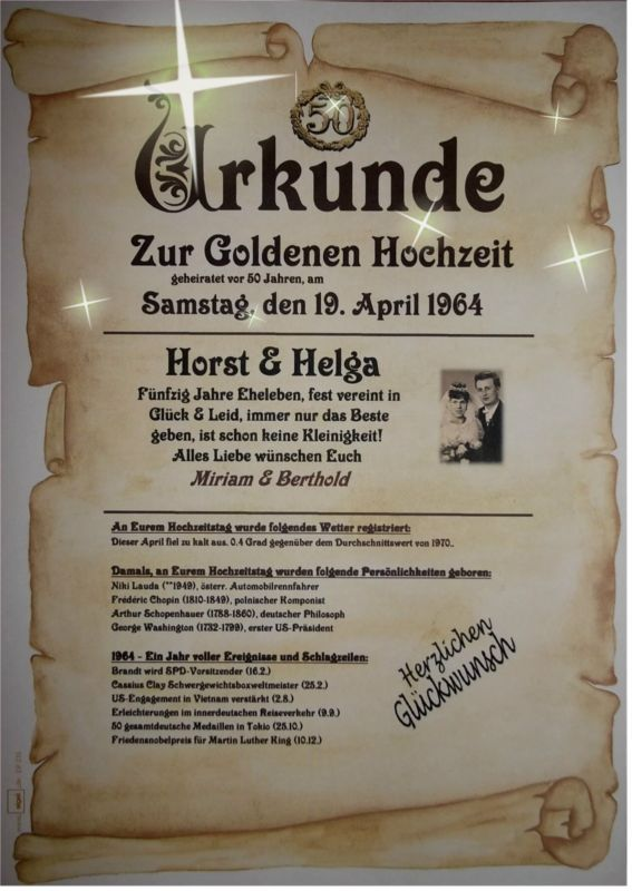 ☆WOW☆ GOLDENE HOCHZEIT Geschenk Urkunde Zum 50. Hochzeitstag ☆ M3