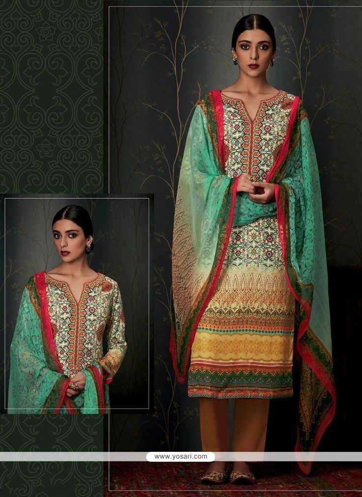 Outstanding Print Work Multi Colour Pashmina Designer Straight Salwar Suit Model: YOS7961