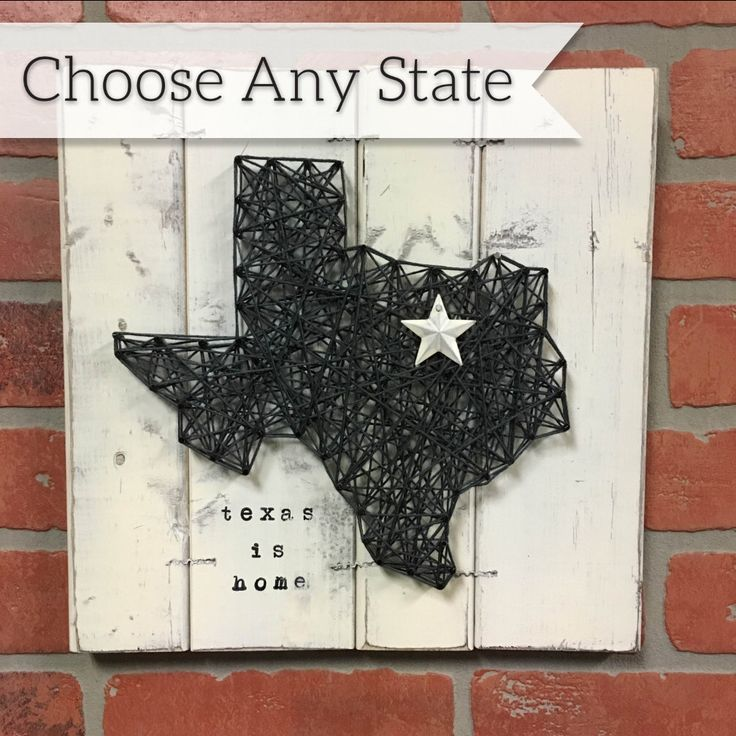 STATE STRING ART, State Art, Farmhouse Decor, Gifts for Dudes, Texas String Art, Alaska Art, Rustic Industrial Decor, Big Sister Gift by ElevenOwlsStudio on Etsy https://www.etsy.com/listing/264718720/state-string-art-state-art-farmhouse