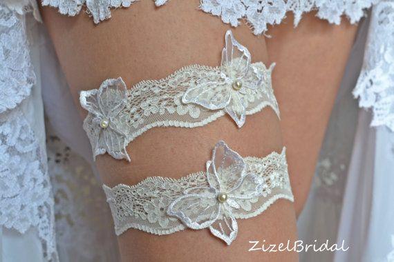 Wedding Clothing Wedding Garter Set Garter Ivory by ZizelBridal