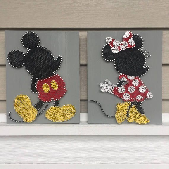 Mickey & Minnie Mouse String Art Duo | Nursery Wall Art | Nursery Decor | Home Decor | Baby Shower Gift