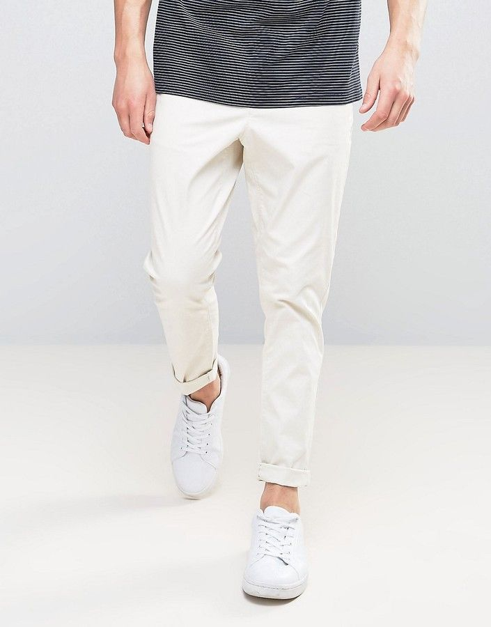 Asos Tapered Chinos In Beige