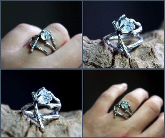 Rough Aquamarine gemstone branch ring raw uncut by aifosjewels