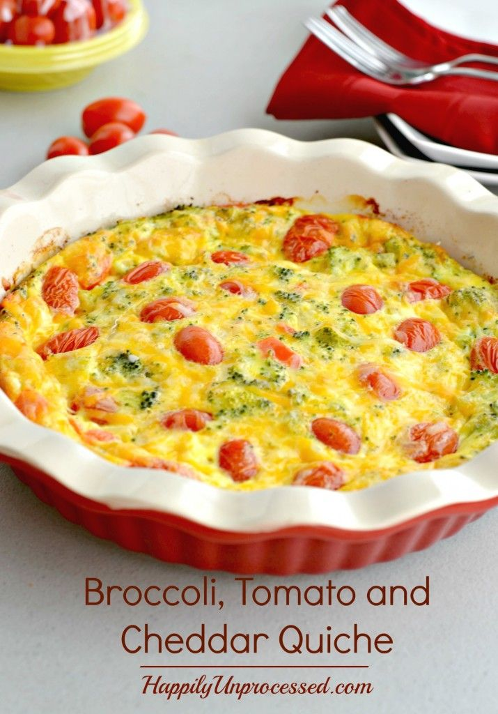 BROCCOLI, TOMATO AND CHEDDAR QUICHE Organic eggs, cream and milk, broccoli, grape tomatoes, red peppers and cheddar cheese make this beautifully filling and moist quiche!