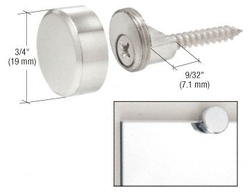 CRL Round Metal Mirror Clips have a unique design for 1/4 inch (6 millimeter) mirror. These round clips use a brass cap that fastens to a screw on base that is