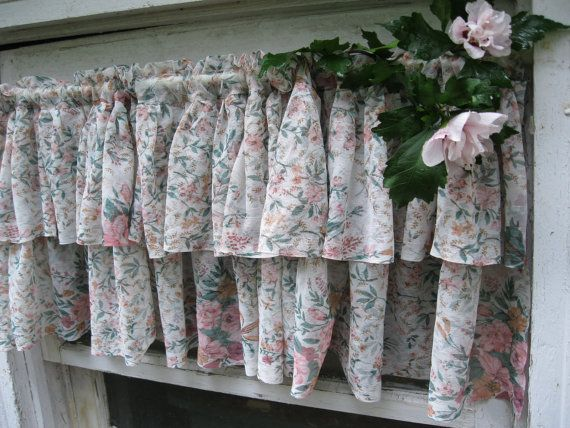 Frilly Curtain,  Window Topper, Cottage Curtain, Roses, Shabby Chic, Shabby Cottage, French Country by mailordervintage on etsy