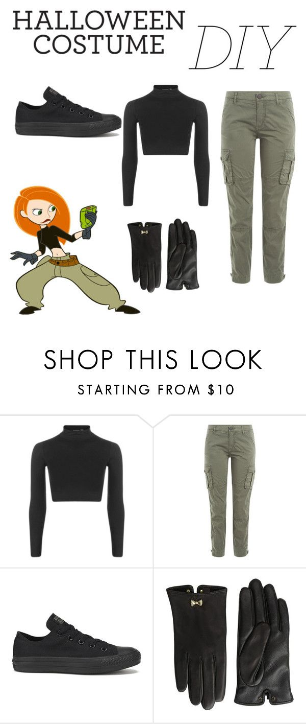 """Kim Possible DIY Costume"" by diamondd1 ❤ liked on Polyvore featuring Boohoo, True Religion, Converse, Ted Baker, halloweencostume and DIYHalloween"