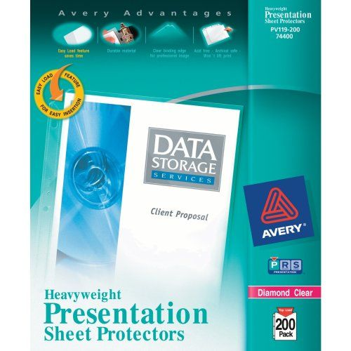 Avery Diamond Clear Heavyweight Sheet Protectors, Acid Free, Box of 200 (74400) Avery http://www.amazon.com/dp/B0012VI9V8/ref=cm_sw_r_pi_dp_E4jAvb0MXNGXM