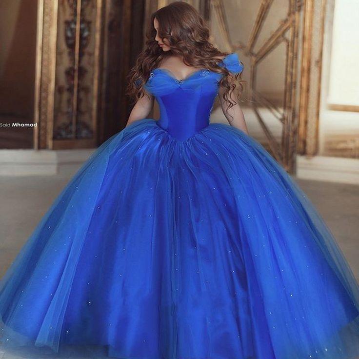 2015 New Cinderella Elegant Quinceanera Dresses Ball Gowns Sweet 16 Blue Prom Dress quinceanera 15 years vestidos de 15 anos