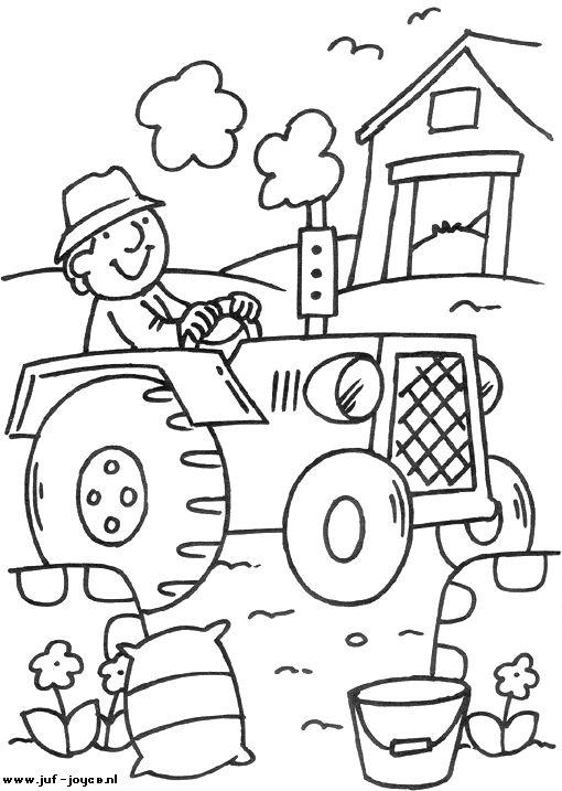 kleurplaat: de boer op de tractor