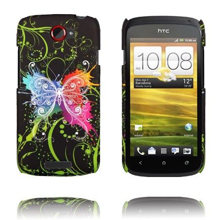 Valentine (Sentrert Regnbue Sommerfugl - Sort) HTC One S Deksel