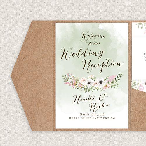 結婚式の招待状の準備なら高品質でおしゃれなEYMオリジナル招待状を♡ダスティカラーを基調にアネモネのお花が華やかさえを添える招待状です。海外風ウェディンググッズ、ペーパーアイテム通販サイトEYMで販売中です。
