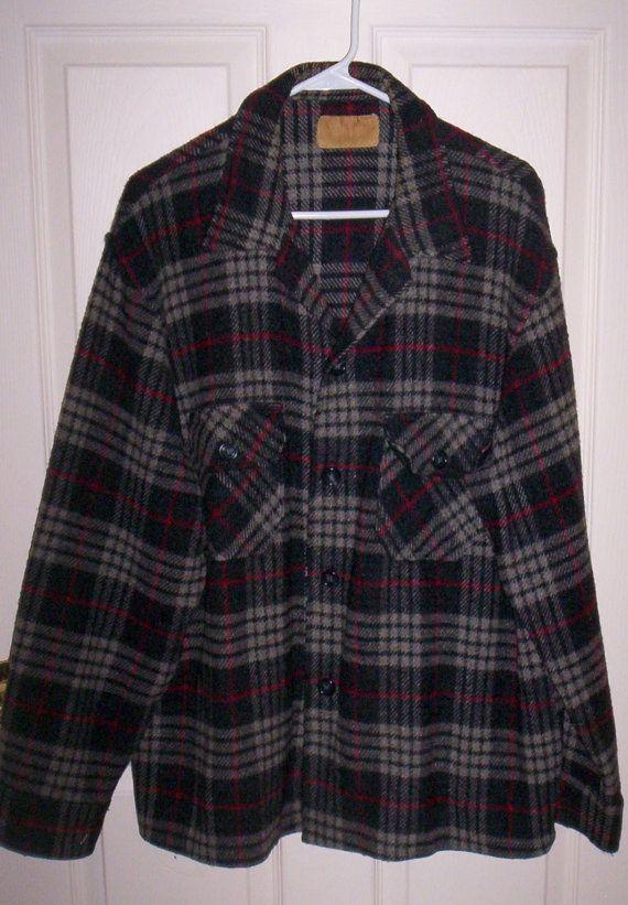 Vintage 1950s Mens Plaid Wool Flannel Shirt by SusOriginals