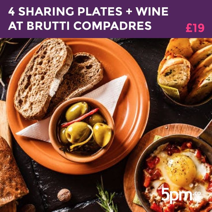 DEAL CLOSED - Today's Big Deal is for two people to share four plates, break, oil & olives + a glass of wine each for just £19 at Brutti Compadres in Glasgow. Visit http://5pm.co.uk/?utm_campaign=coschedule&utm_source=pinterest&utm_medium=5pm.co.uk for full deal detail.