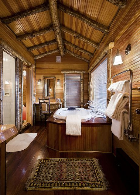 Relais & Chateaux -On the shores of spectacular Lake Placid, its mirror-like waters reflecting the majestic Adirondack Mountains, sits Lake Placid Lodge. Lake Placid Lodge NY #relaischateaux #bathroom #wood