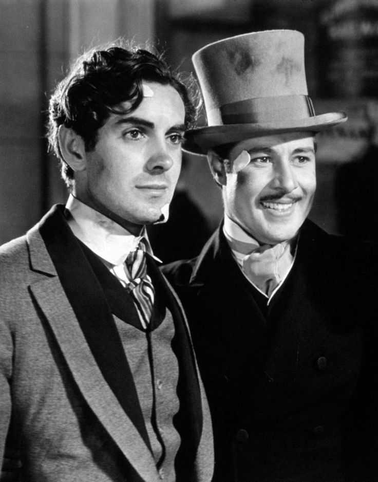 "Tyrone Power y Don Ameche en ""Chicago"" (In Old Chicago), 1938"