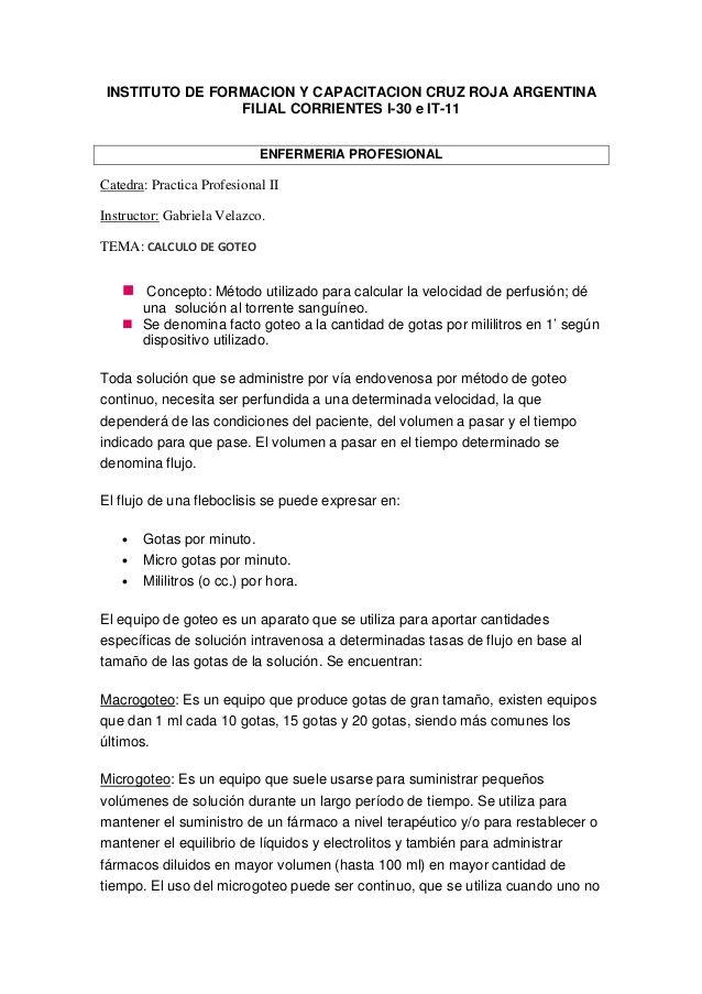 INSTITUTO DE FORMACION Y CAPACITACION CRUZ ROJA ARGENTINA  FILIAL CORRIENTES I-30 e IT-11  ENFERMERIA PROFESIONAL  Catedra: P...
