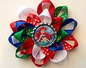 Little Mermaid Hair Bow. Bottle Cap bow with Ariel image.