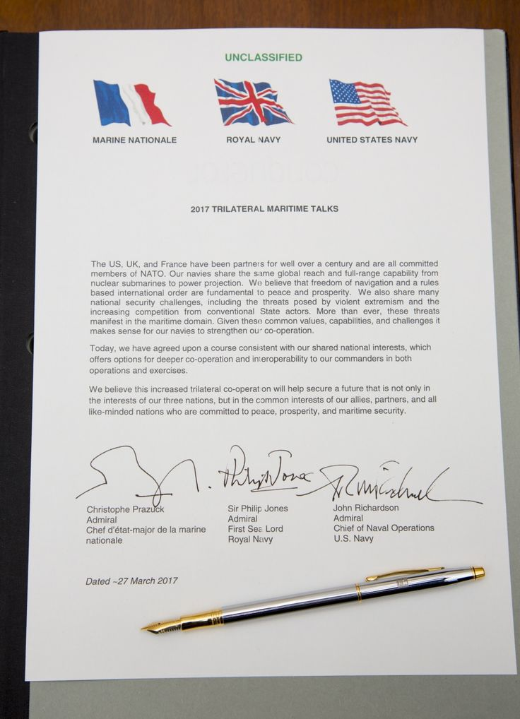 LONDON (March 27, 2017) The 2017 Trilateral Maritime Talks document which Chief of Naval Operations Adm. John Richardson, Adm. Christophe Prazuck, Marine Nationale's Chief of Navy, and Adm. Sir Philip Jones KCB ADC, The First Sea Lord and Chief of Naval Staff signed in the Ministry of Defense Main Building. (US Navy photo courtesy of Ministry of Defense/Released)