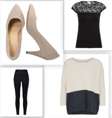 Black lace top+black leggins+taupe  and dark grey sweager+ taupe pumps. Fall Dressy Casual Outfit 2017