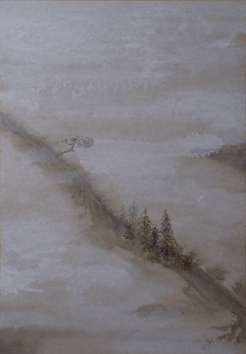 Horský hřeben I. (Mountain ridge I.) Watercolor on paper, 28x40cm, © Mirek Vojáček
