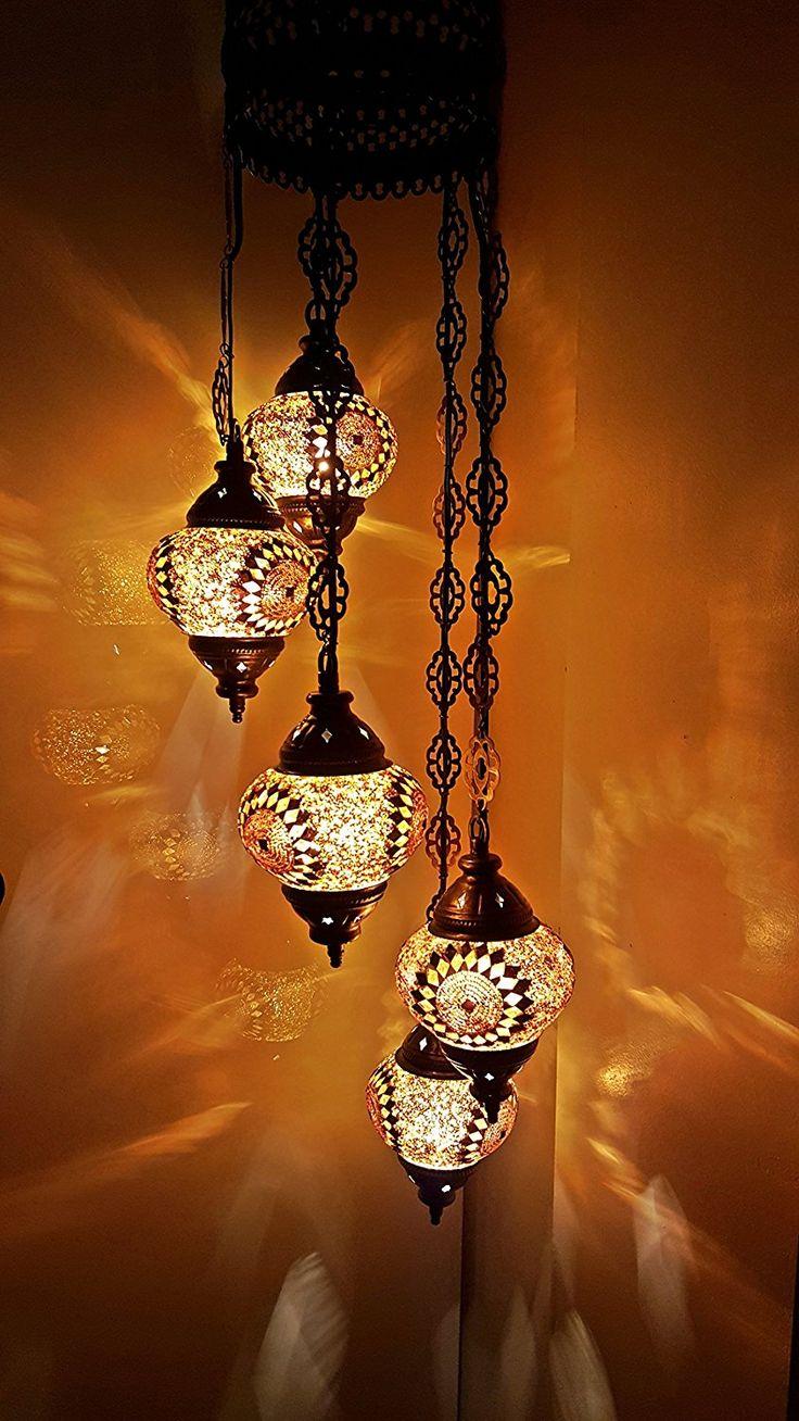 Turco marroquí Estilo Tiffany Cristal), diseño de mosaico - lámpara de techo (5 bombillas - G13 X 5: Amazon.es: Iluminación