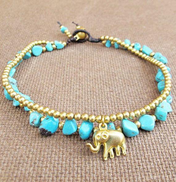 Turquoise Ankle Bracelet - Double Strands Turquoise Stone Brass Bead added Elephant Charm