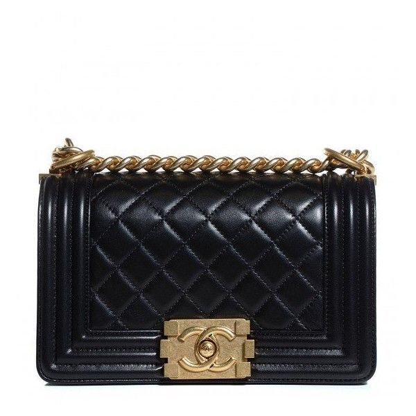 CHANEL Lambskin Quilted Small Boy Flap Black featuring polyvore women's fashion bags handbags chanel quilted handbags chanel shoulder bag square purse shoulder handbags