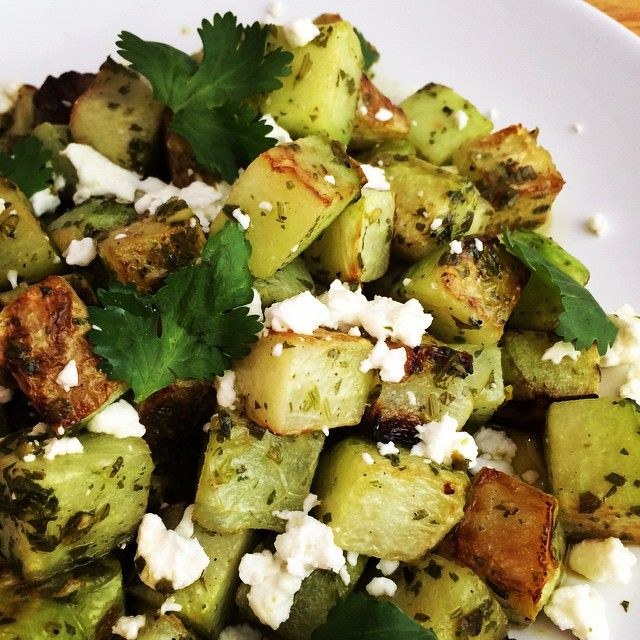EVERY DAY in December I'm posting a simple Twitter-friendly recipe.  The following is a recipe 4 Roasted Chayote, amazing SIDE DISH combing sweet chayote w savory Green Chile Adobo from Dec2 post. Add silken tofu 4 veg taco  Toss cubed chayote w 2T OO, S&P.  Roast @ 425-25mins turning regularly till soft&golden.Toss w 3T Green Chile Adobo, 2T lime & some zest.
