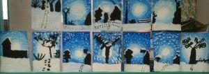 Les enfants ont testé les techniques du dégradé. A partir d'un rond blanc, une suite de cercles concentriques dans les tons bleus donnent cette impression de relief et de lumière. Un décor en noir et blanc…et voici un paysage hivernal magnifique…  http://www.ecolesaintjosephmorestel.fr/tag/arts-plastiques/