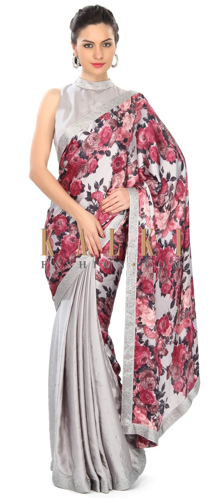 Buy Online from the link below. We ship worldwide (Free Shipping over US$100) Price- $129 Click Anywhere to Tag http://www.kalkifashion.com/grey-saree-enhanced-in-floral-print-and-kundan-only-on-kalki.html