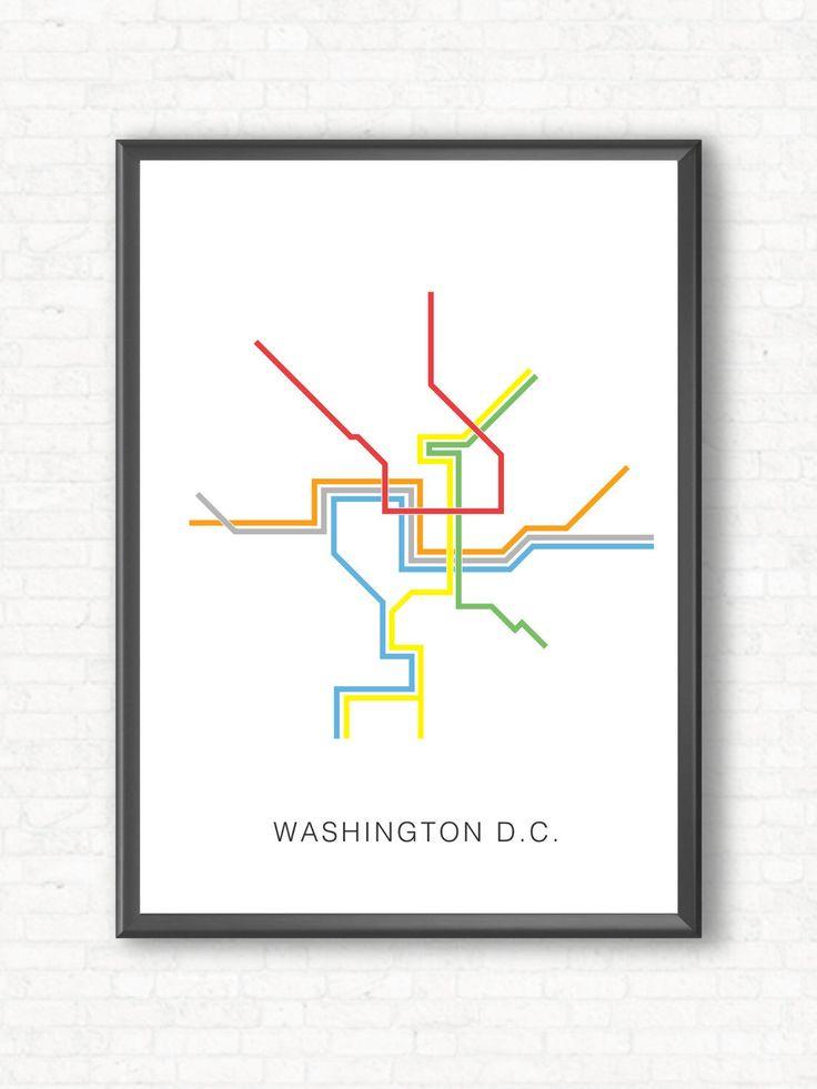 Washington D.C. Metro Map Poster - A Graphic Design Illustration Print of City Transit Line Art, Public Transit - Color Line Art Design by TheCameraGraphic on Etsy https://www.etsy.com/listing/253864389/washington-dc-metro-map-poster-a-graphic