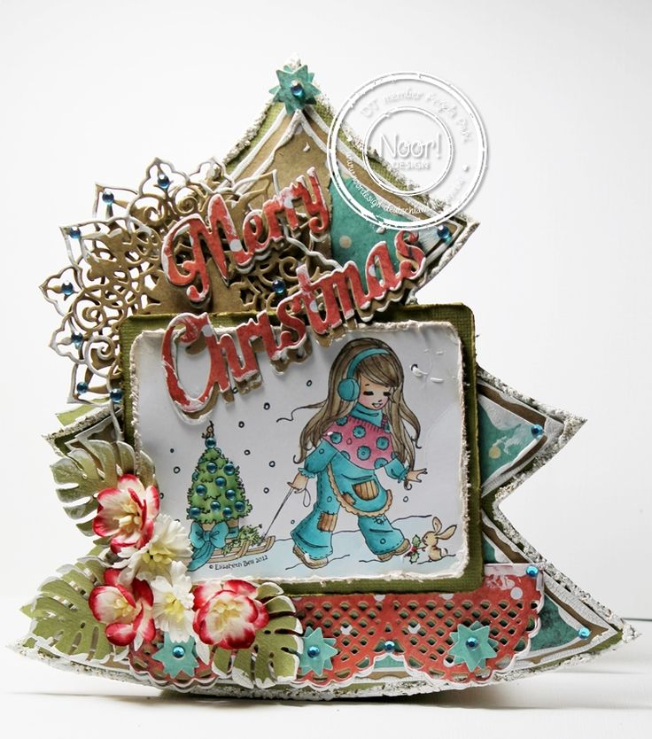 26.08.2014 Christmas Tree Package with #Dutch Doobadoo Shape #Christmas Star,#Halbkreisrandstanze,#Schriftzugstanze#Paper Bloc Fading Colors#Leavesstanze