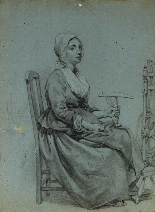 Willem Pieter Hoevenaar (1808-1863)   A Woman seated at a Spinning Wheel   black and white chalk on blue paper   376 x 277 mm