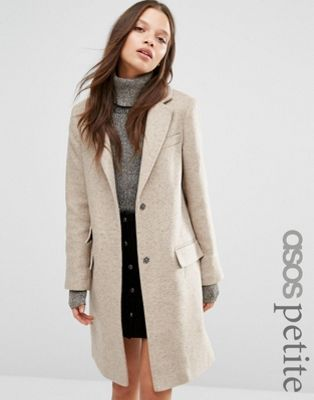 ASOS PETITE - Manteau cintré en laine mélangée avec poches