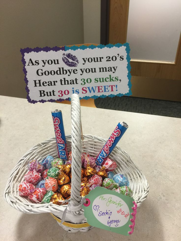 Kiss Your 20s Goodbye 30s Birthday Candy Basket Love
