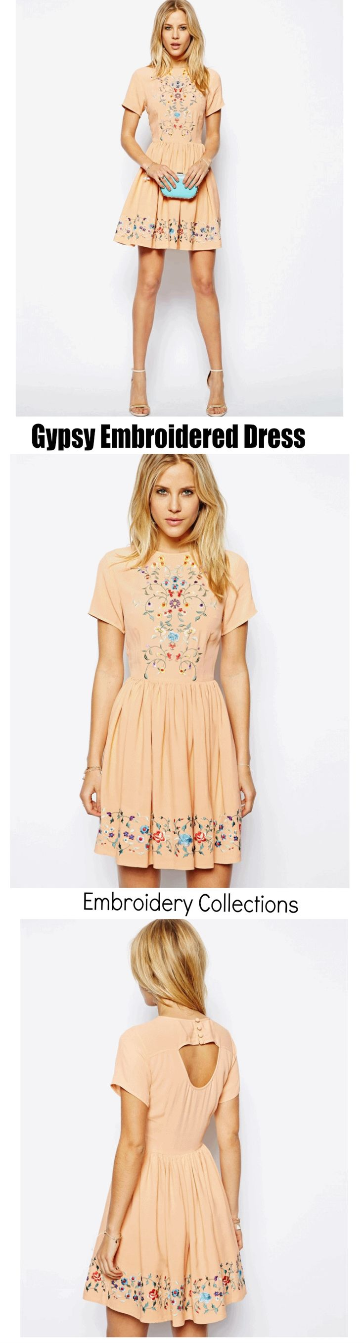 $45 ( Free Shipping Worldwide ) - Gypsy Embroidered Dress is Available at Pasaboho