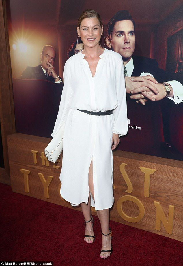 Classic: Grey's Anatomy vet Ellen Pompeo, 47, looked laid back in an airy white dress with full sleeves and splits at the front and on either side of the legs