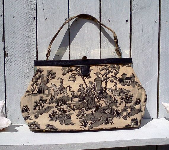 Vintage purses and bags black and white damask by WeeLambieVintage, $15.00