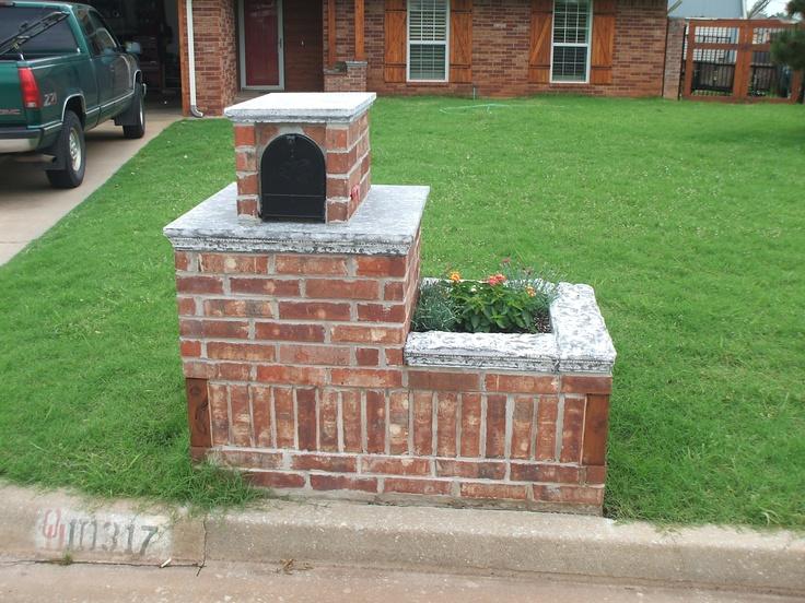 mailbox with concrete caps o b designs pinterest brick mailbox