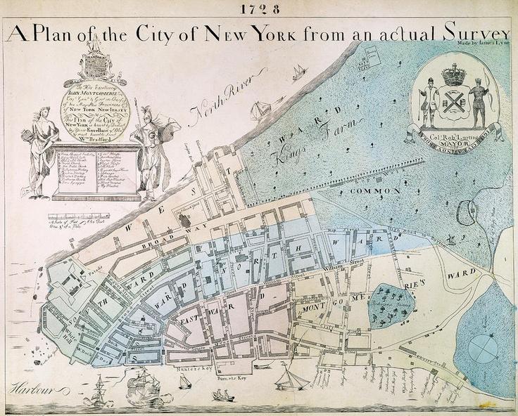 New York City Map, 1728.