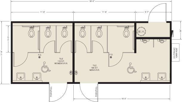 Public Restrooms Dimensions Floor Plans In 2019 Bathroom