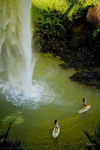 paddleboarding, Bridal Veil Falls, New Zealand | Sarah Lee on flickr