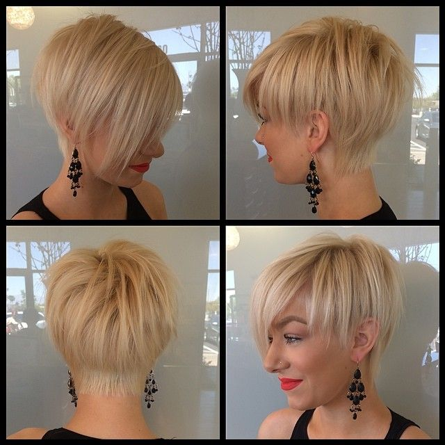 Great execution of the super hot short cut of the moment with cropped sides and back and long forward angled front and fringe, really like the softness and length left at the back. I would like the back hairline to be softer and the weightline more graduated/blended but overall, a great cut.